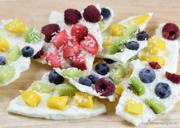Rainbow fruit frozen yogurt bark