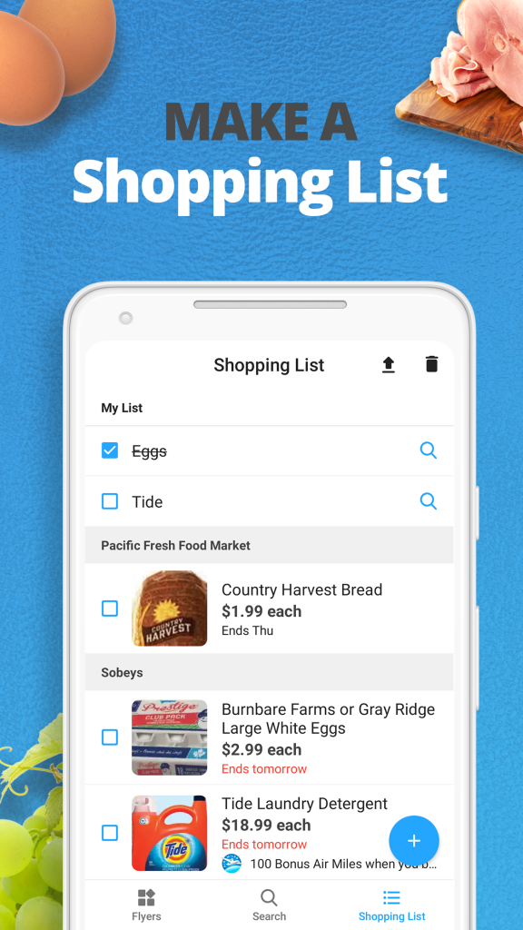 reebee app shopping list